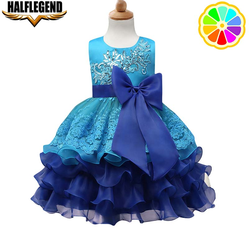2018 New Baby Girls Princess Dress Flower Tutu Evening Wedding Birthday Party Cake Dresses for Little Girl with Bow Kids Fashion