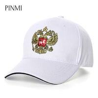 PINMI Russia National Emblem Baseball Cap Men Black Brand Snapback Cap Women White Retro Embroidery Patriot