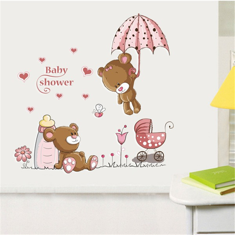 Cute bear removable vinyl kindergarten nursery kids baby for Baby mural stickers