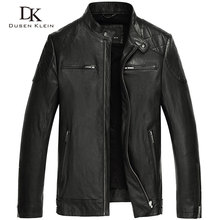 Dusen Klein 2017 New men's leather motorcycle jacket genuine sheepskin Business style male jacket black 61L1615