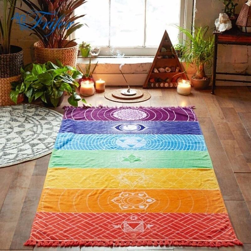 S / M Regnbågsmattor Vägghängande Matta Mandala Blankett Tapestry - Hemtextil