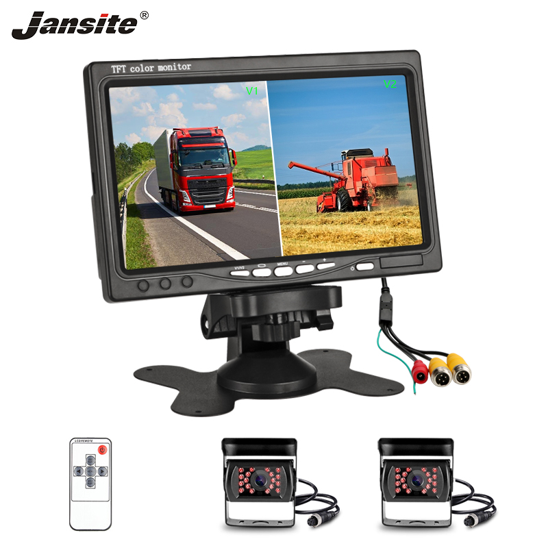 Jansite 7 Car monitor TFT LCD 2 Channel video Aviation Head Rear View Camera Parking Rearview