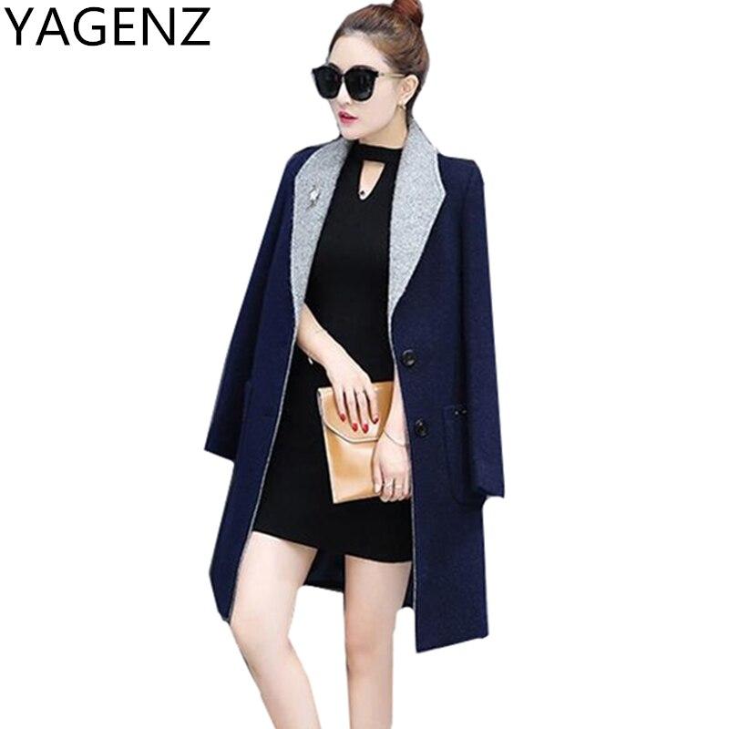 YAGENZ 2017 Winter Women Jacket Korean Slim Elegant Medium length lady Woolen Coat Large size Warm