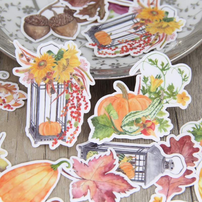 25pcs Pumpkin Watercolor Hand-painted Decorative Stickers Pack, Plant Leaf DIY Notebook, Diary, Scrapbooking stickers