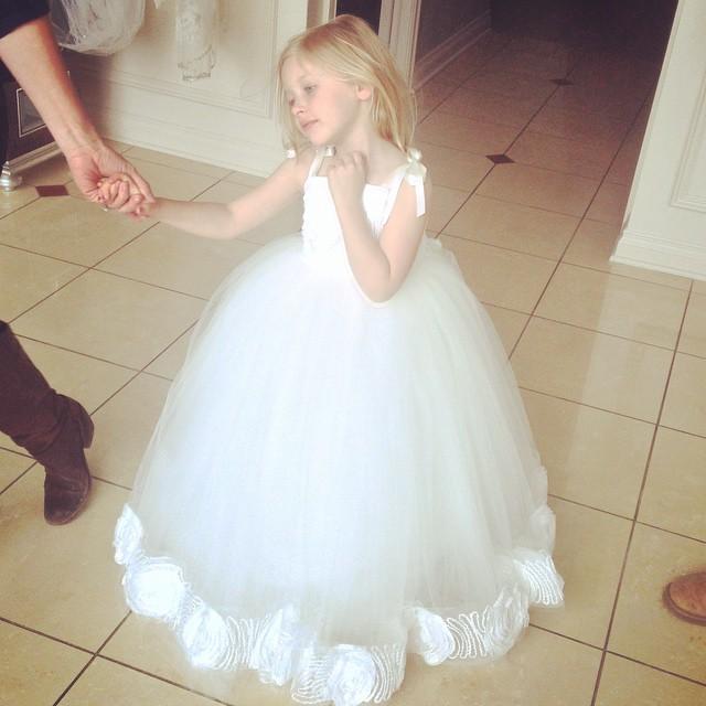 2015 New Arrival Spaghetti Straps Ball Gown   Flower     girl     Dresses   For weddings Child Princess   Dress