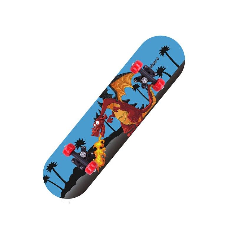 Wooden Four Wheels Children Skateboard Cartoon Double Kick Scooter Single Warping Teenager Beginner Extreme Sports Long Board