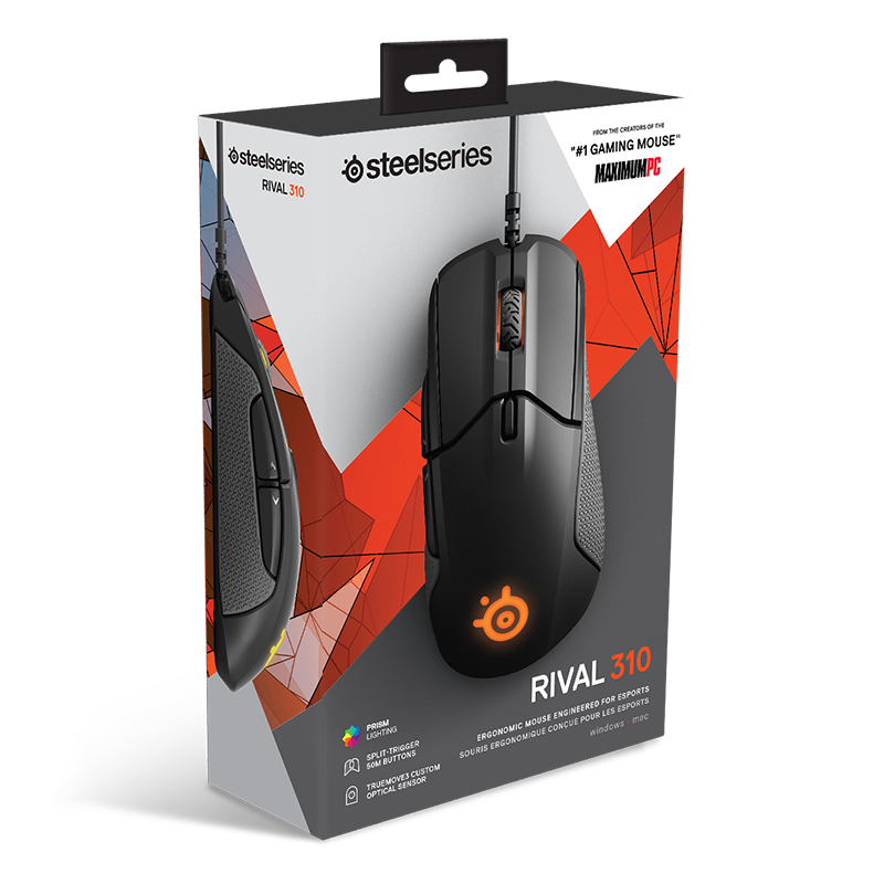 SteelSeries Rival 310 RGB FPS USB Optical Gaming Wired Mouse with 12000 CPI Split Trigger Buttons