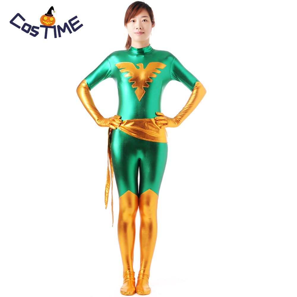X Men Costume Marvel Girl Costume Superhero Cosplay Green Phoenix Zentai Shiny Metallic Bodysuit Halloween Costumes For Women