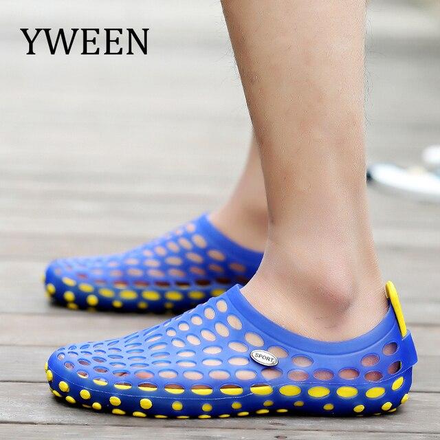 558bf9457 € 12.6 32% de réduction YWEEN mode hommes sandales en plastique sandales  décontractées chaussures homme été chaussures de plage chaussures ...