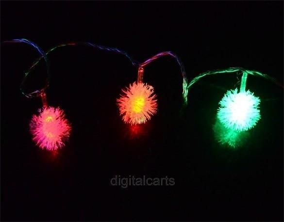HENYNET 5M 28L Fuzzy Ball String Fairy Light Christmas Xmas Party Wedding Decoration