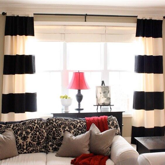 100 coton noir et blanc bande horizontale rideau rideau de style moderne pour le salon dans. Black Bedroom Furniture Sets. Home Design Ideas