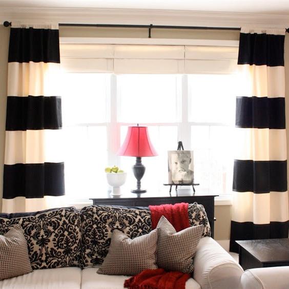 rideau a rayures horizontales 100 coton noir et blanc rideau de style moderne pour salon
