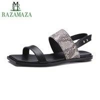 RAZAMAZA Women Sandals Genuine Leather Shoes Women Fashion Snakeskin Pattern Square Open Toe Sexy Flats Footwear Size 34 39