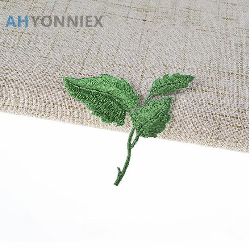 1 PCS Green Color Leaf Patches Iron On Embroidered Patch Applique for Garment T Shirts Pants Bags DIY Craft Supplies