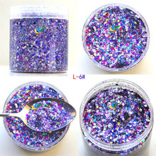 50g/bag Shiny Colors Nail Sequins 0.2mm,1mm Mixed Glitter Paillettes Powder Holographic Glitters Sparkles Hot