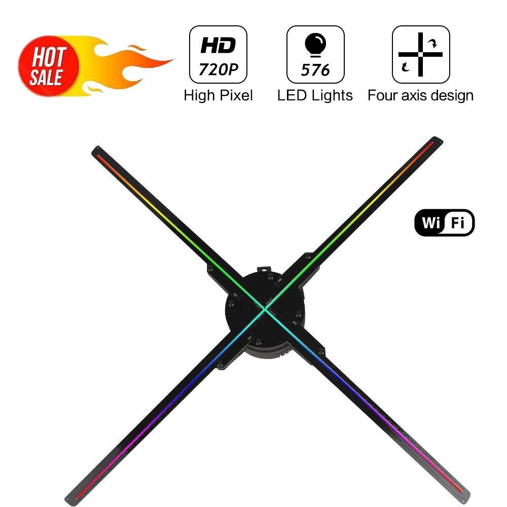 50CM 576 perles de lampe 3D hologramme publicité ventilateur projecteur lumière affichage holographique LED holograma wifi APP contrôle publicité