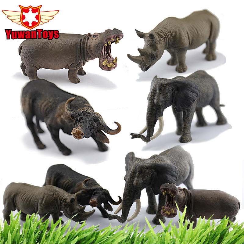 Interestin Toys Lifelike Grassland Animals Rhinoceros Elephant Bulls Hippo Model Hand Paind PVC Toys Christmas Gifts For Kids 3d model relief for cnc in stl file format animals and birds 2