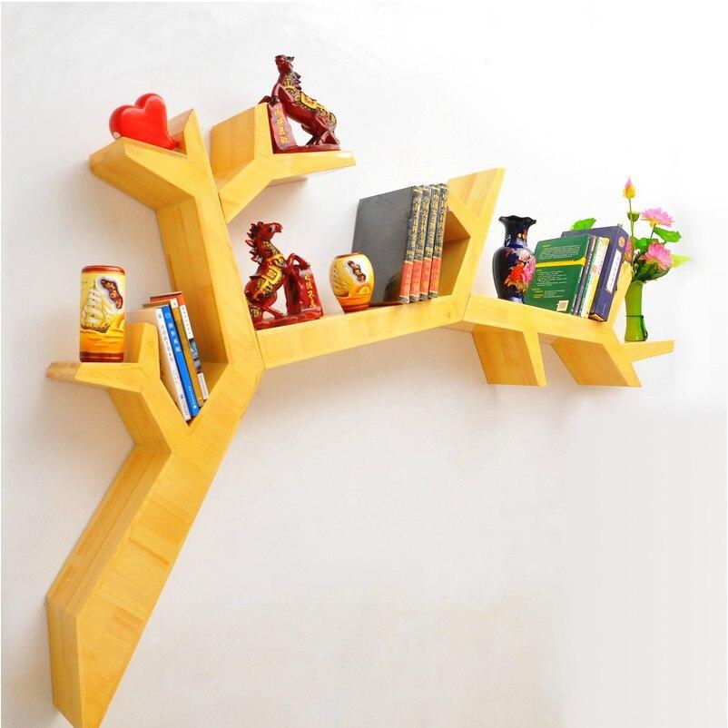 eenvoudige boom boom hout boekenkast plank wandplank decoratieve muur plank creatieve separator closet specials in eenvoudige boom boom hout boekenkast