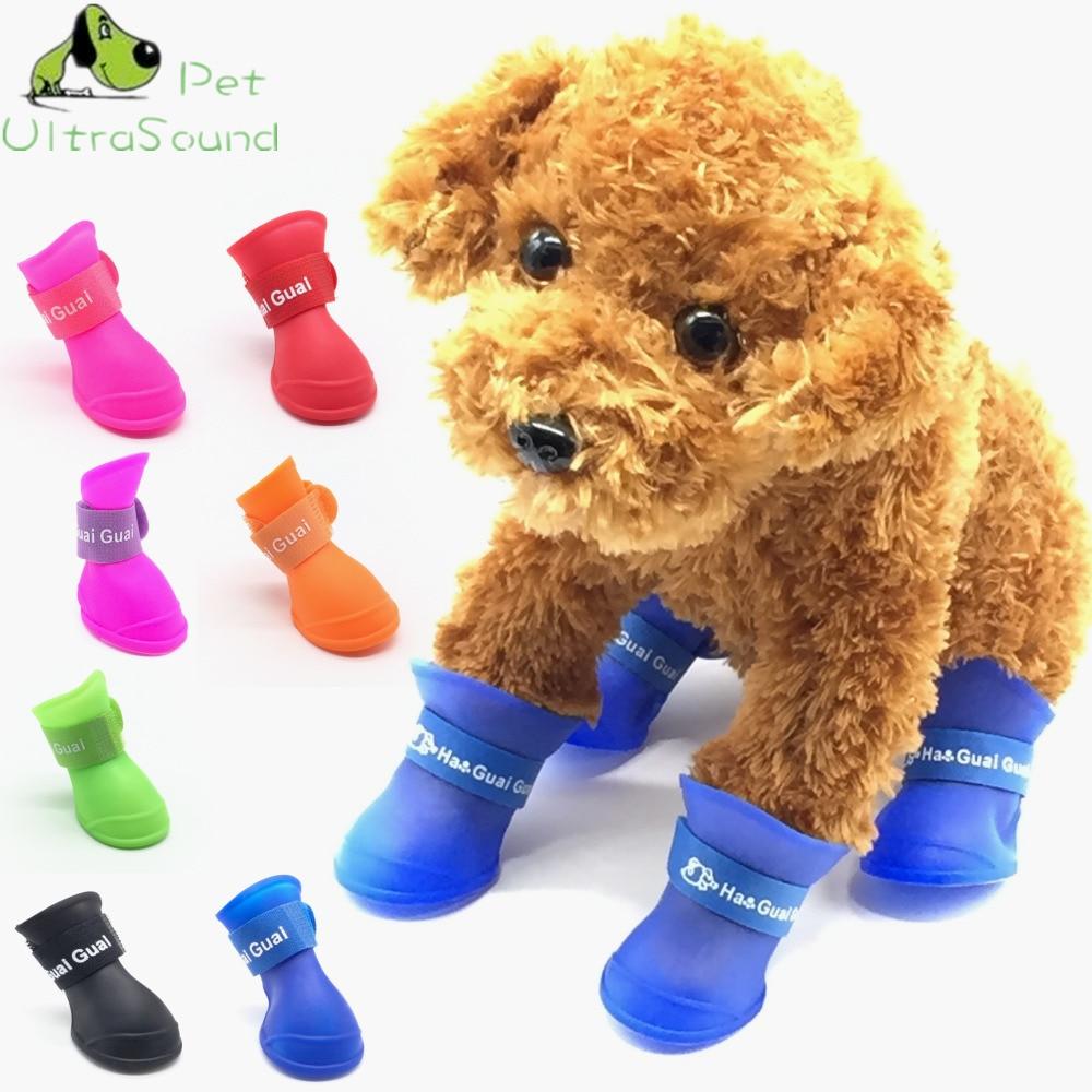 Perro de mascota botas PU Gel de sílice zapatos para mascota a prueba de agua 4 unids/set perro zapatos 8 colores de caramelo gato zapatos de la lluvia de tamaño S/M/L/XL/XXL