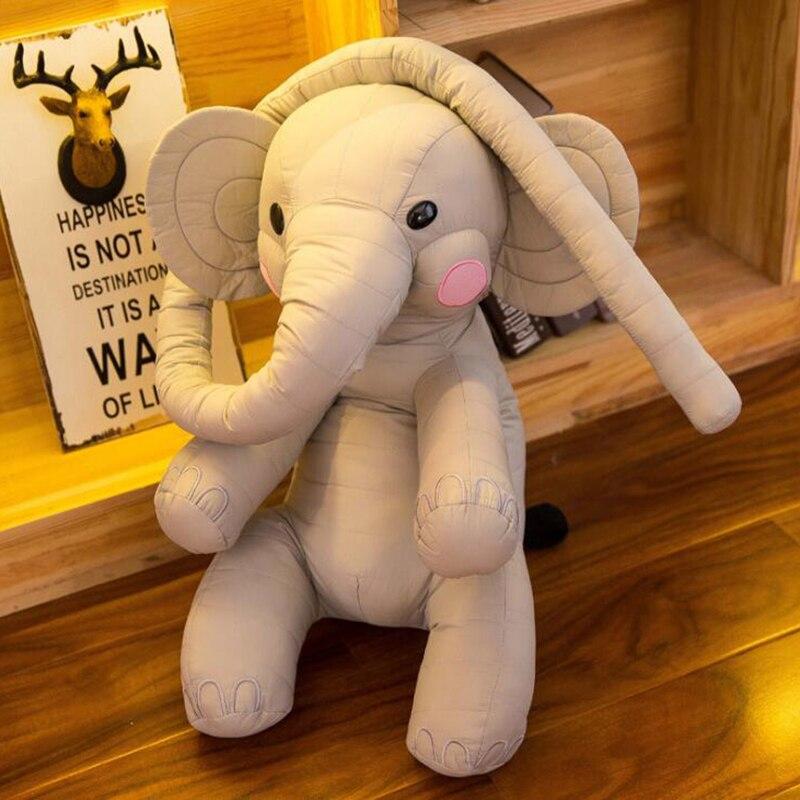 Dessin animé 60 cm grand éléphant en peluche jouet enfants mignon long nez éléphant oreiller peluches éléphant poupée bébé poupée cadeau d'anniversaire pour enfant