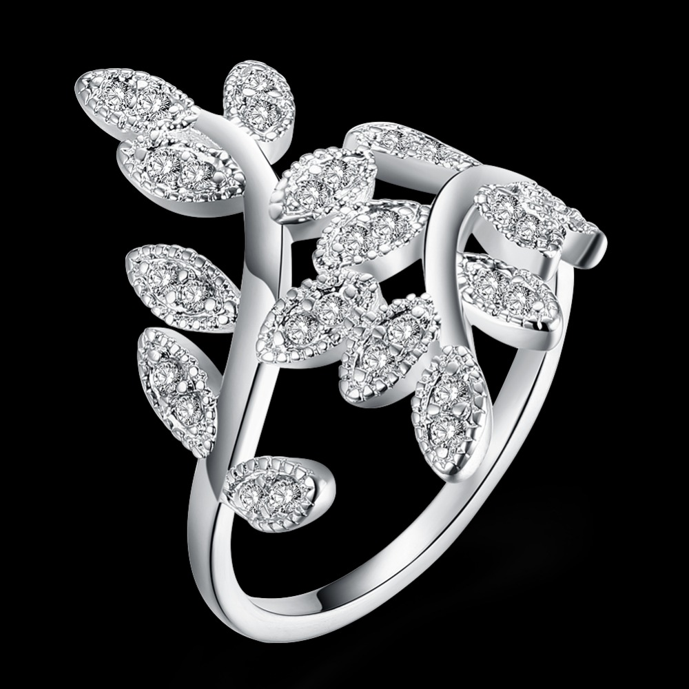 Seanuo Jewelry Co., Ltd. store Seanuo Luxury Cubic zirconia paved leaf shape 925 silver women wedding ring fashion sexy real silver female full finger ring 6-9