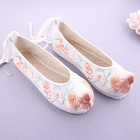 Chinese Style Embroidered Shoes Floral Ballet Flats Shoes Canvas Women Embroidery Shoes Hanfu Shoes Sweet Warped head Ning Xiang