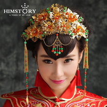 Chinese Handmade Bridal Tiaras Vintage Hair Accessories Red Gold Green Multicolor Suit Style Wedding Headpiece