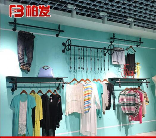 Tie yi clothing store wall hanging rack for men and women hanger combination retro positive side display rack image