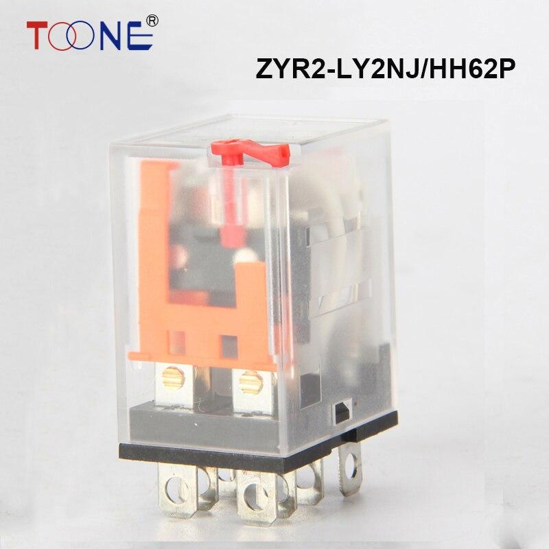ZYR2-LY2NJ/HH62P 220vac relay 24v 12v 36v AC/DC 10A 11PIN silver contact dpdt Mini Relay power relay general purpose relay батут nj 12 48d