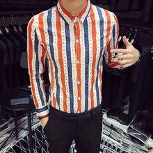Camisa Social Shirt Men Orange Striped Long Sleeve Fashions Designer For Party Dress Chemise Homme 3XL 2019