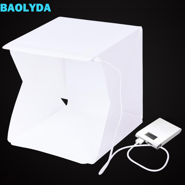 Baolyda 20 led mini studio photo box 24cm caixa de luz para fotografia caixa dobrável lightbox whitebox photobox