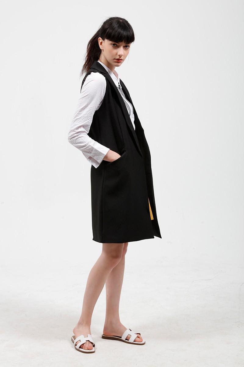 2017 wiosna nowy mody długie kieszenie turn-dół collar otwórz stitch pantone niebieski różowy beżowy czarny żakiet kamizelka bez rękawów kurtki 22