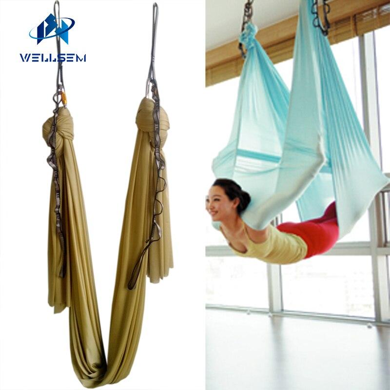 Or 5 m ensembles complets Yoga Aérien Hamac Balançoire Trapèze Antigravité équipements D'inversion + guirlande + autolock carbiner + bague de montage