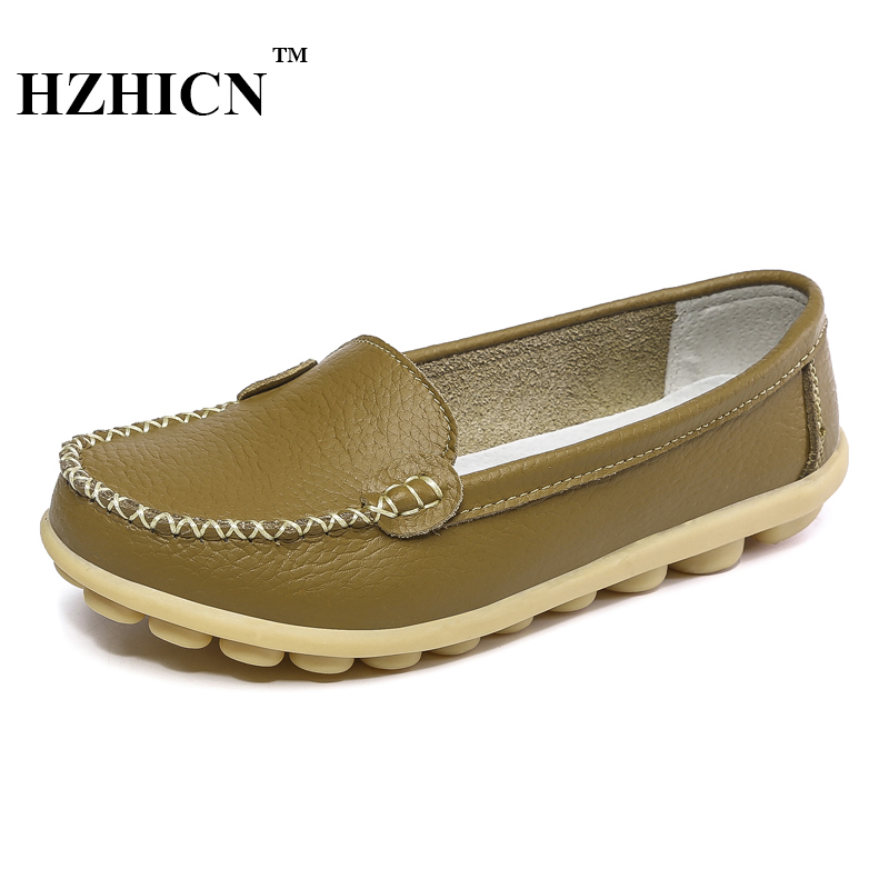 Women Genuine Leather Shoes for Mother Loafers New Casual Oxfords Plus Size Soft Comfortable Flats Sapato Feminino Zapatos Mujer new style comfortable casual shoes men genuine leather shoes non slip flats handmade oxfords soft loafers luxury brand moccasins