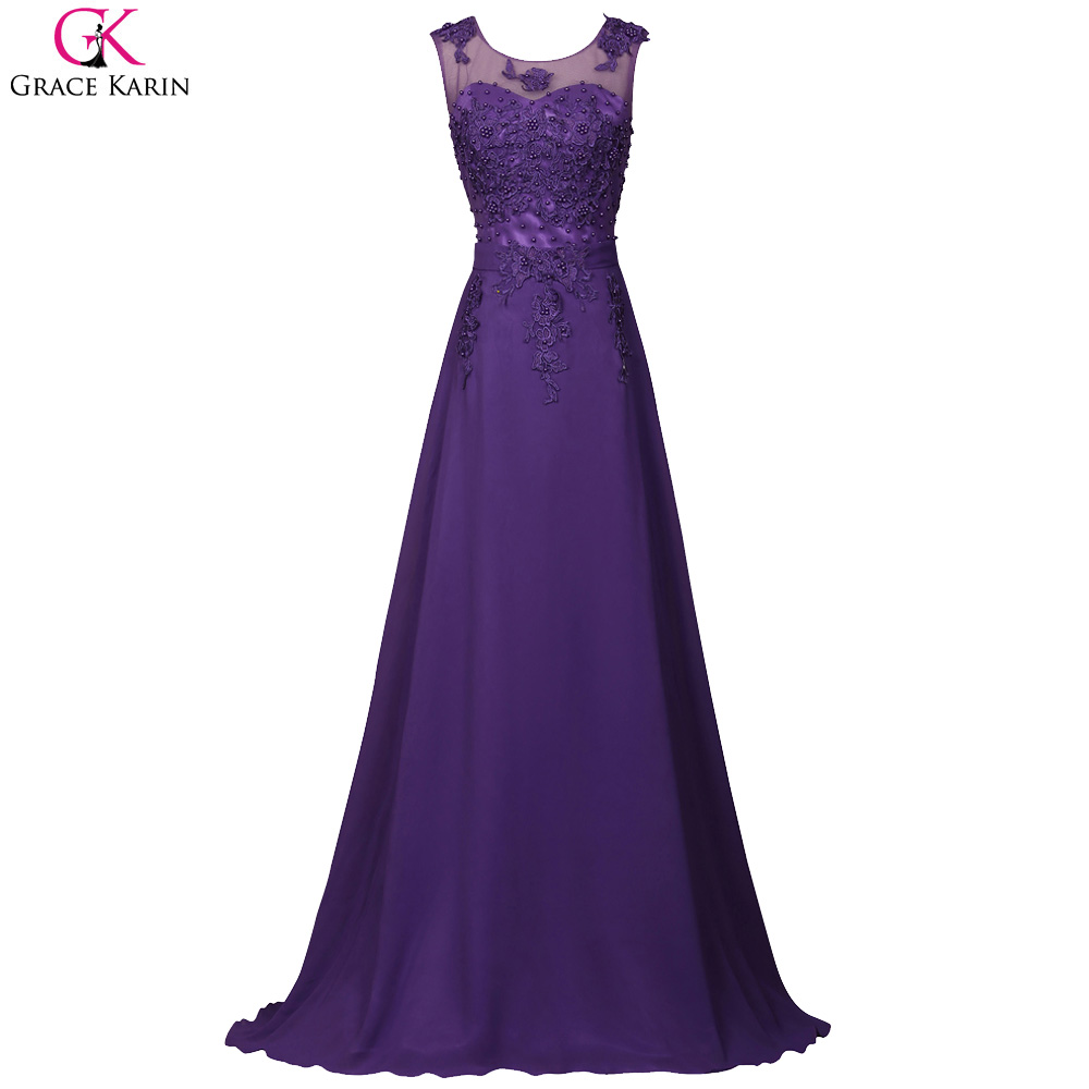 Grace Karin Dresses Elegant Long Royal Blue Prom Dress