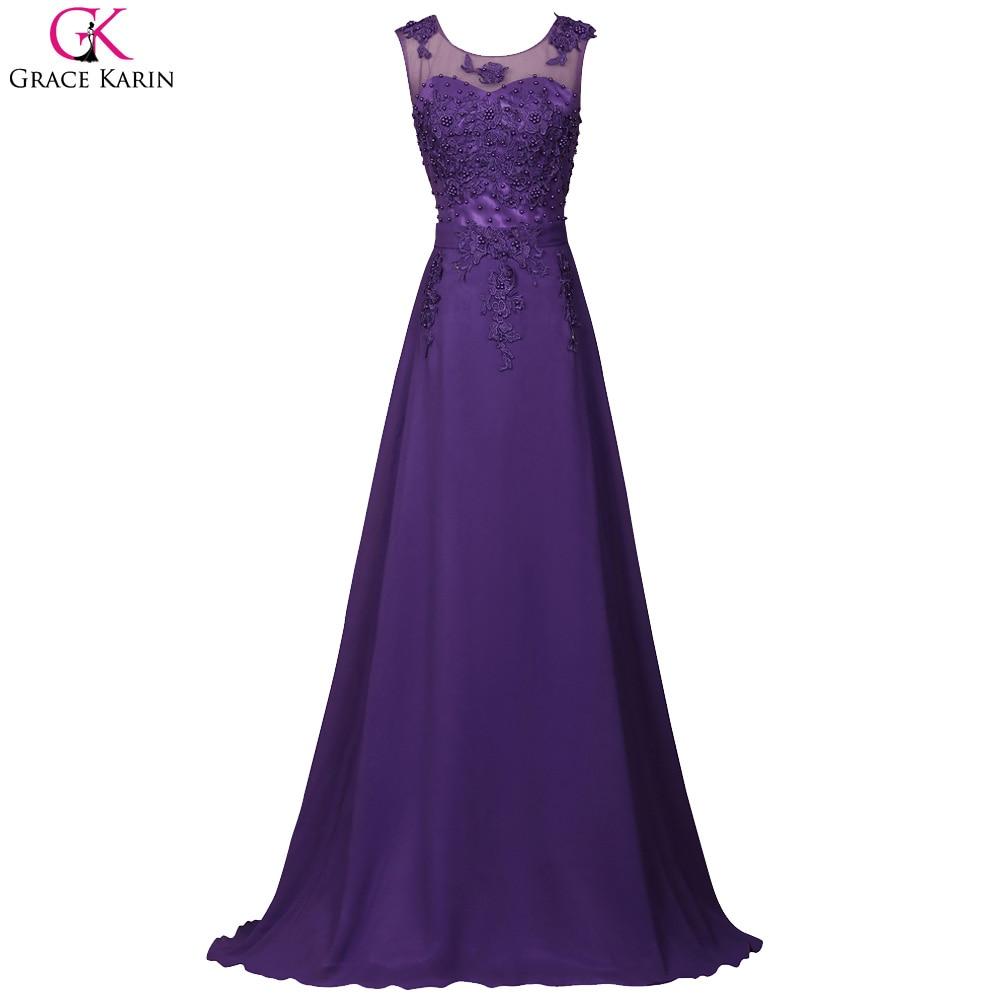Grace Karin Dresses Elegant Long Royal Blue Prom Dress 2017 Pink Purple Red Black Long Cheap Wedding Formal Dinner Prom Dress
