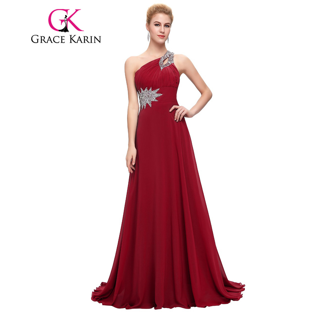 Grace Karin Long Evening Dress Chiffon Formal Prom Dresses One Shoulder Elegant Evening Gowns Party Dress 2017 vestidos
