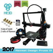 200*200*200mm autoleveling Impresora HE3D 3D kit de impresora EI3 De Extrusión De Aluminio con 2 rollos filamento + tarjeta de 8 GB SD como regalo