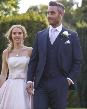 Navy Blue Slim Fit Wedding Tuxedos Groom Tuxedo ( Jacket+Pants +Jacket) Best Men Suits Groomsmen Suits Custom Made