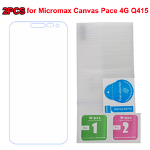 2PC For Micromax Q415 Tempered Glass High Quality 9H Front Screen Protector For Micromax Canvas Pace 4G Q415 Phone Films Cases ] смартфон micromax q4251 canvas juice a1 4g 8gb champagne gold