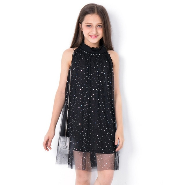 Kids Dresses for Girls Summer Dress Sequined  Teen Casual Clothes Black Princess Party Dress Fashion for Teenage Children 6-14Y