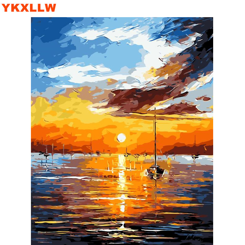 Sunrise River pictures Office decoration painting oil Painting pictures By Numbers Drawing by numbers DIY paint 40*50cm no frame ...