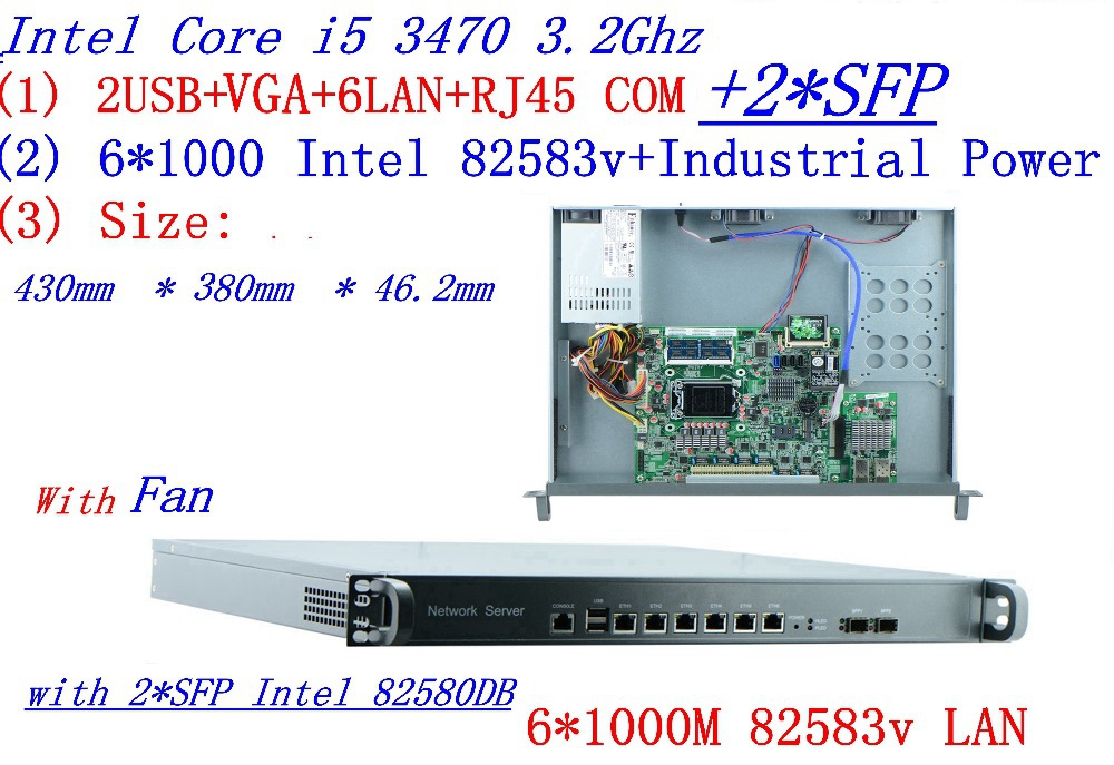 6*1000M Ethernet 2*SFP Pfsense 1U Firewall Hardware B75 I5 3470 3.20 GHz Rack-mountable For Network Firewall