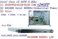 6*1000M Ethernet 2*SFP Pfsense 1U Firewall Hardware B75 i5 3470 3.20 GHz Rack mountable for network firewall