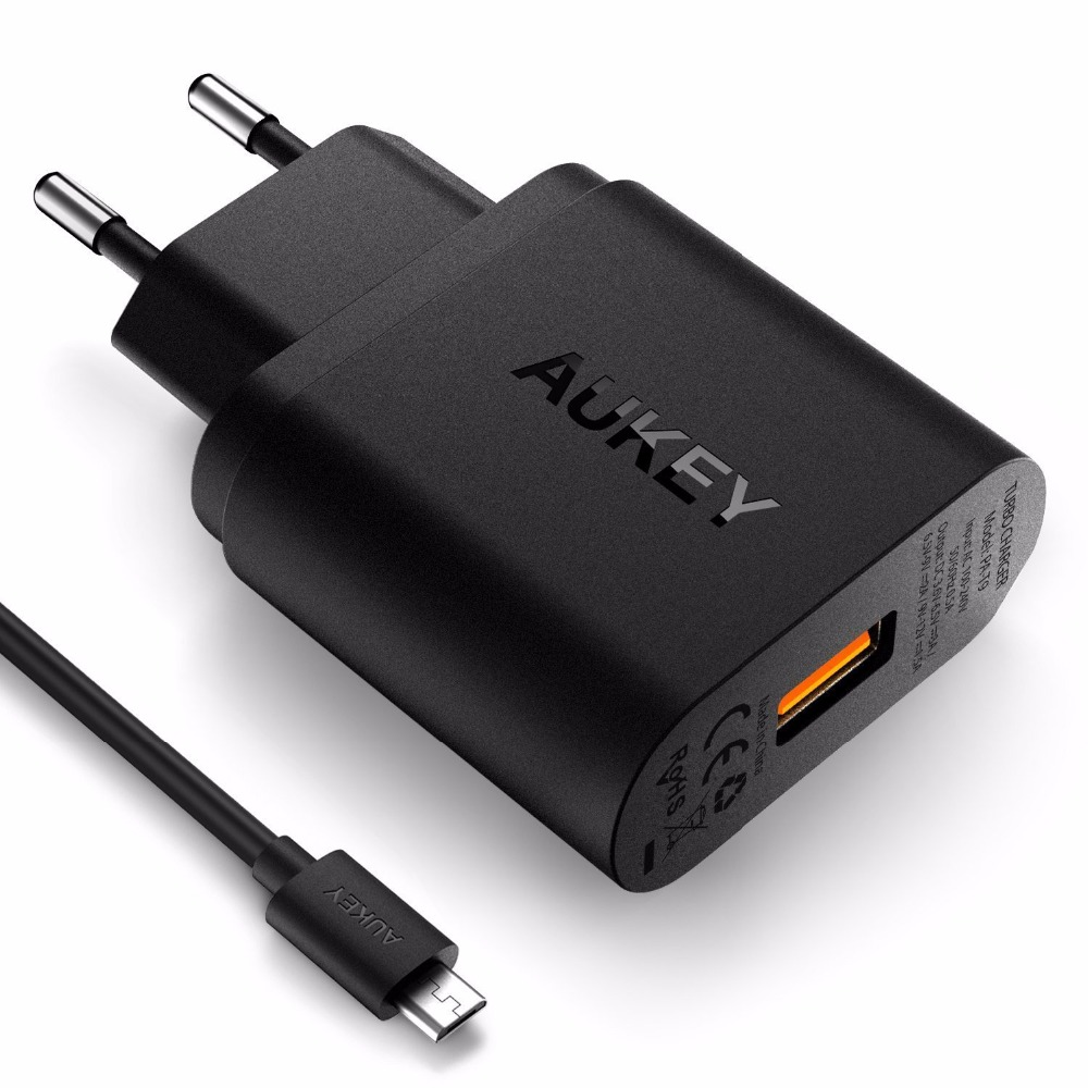 Quick Charge 3 0 font b AUKEY b font USB Wall Charger with Micro USB Cable