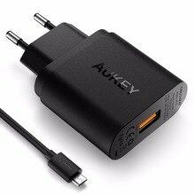 Carga rápida 3.0 AUKEY cargador de pared USB con Cable Micro USB para la galaxia S7 / S6 / Edge Nexus 6 p, LG G5 | Qualcomm certificado