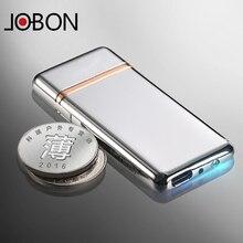 Jobon zhongbang lade leichter winddicht ultradünne personalisierten schriftzug usb elektronische zigarettenanzünder