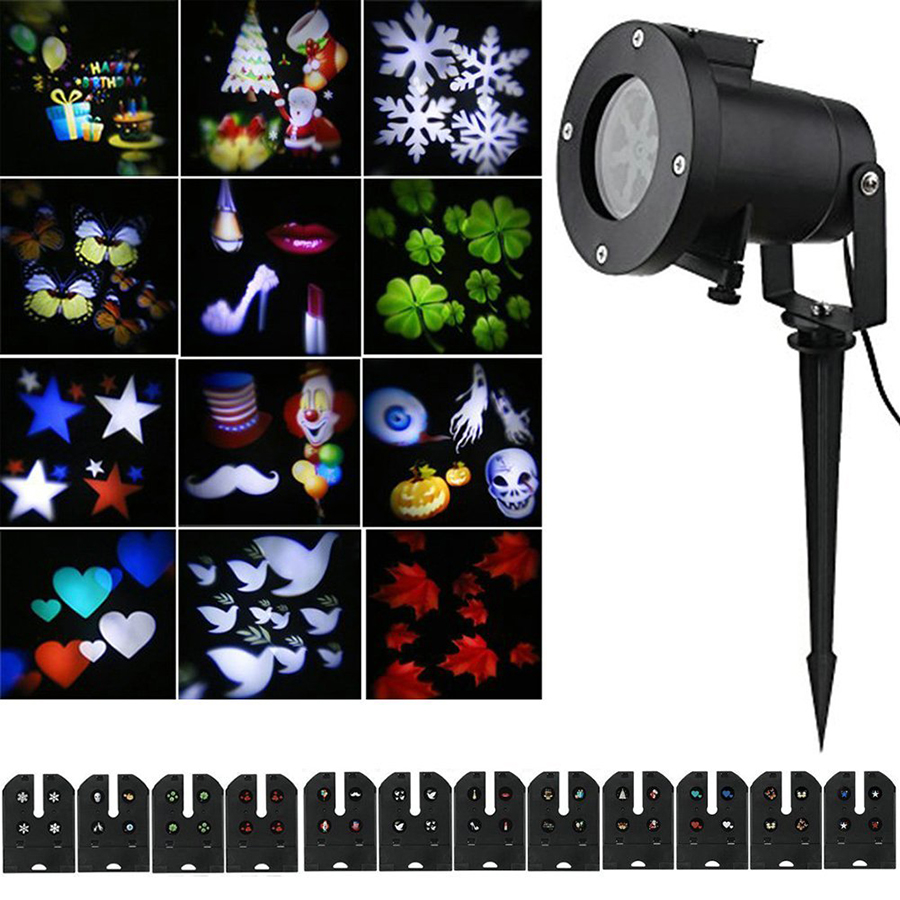 Laser Projector Lamp 12 Pattern Lens Switchable Colorful Outdoor Garden Lamp Light Halloween Christmas Landscape Projector LightLaser Projector Lamp 12 Pattern Lens Switchable Colorful Outdoor Garden Lamp Light Halloween Christmas Landscape Projector Light