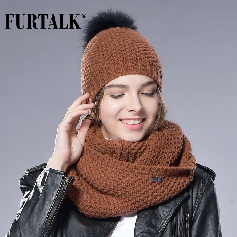 FURTALK Beanie Hat And Scarf Set Women Real Fox Fur Pompom Hats Wool Knitted Infinity Scarf  Fur Hat Autumn Winter Girls Hat Cap