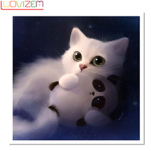 diamond painting cat Diamond Kids Diy Diamond Embroidered Cat And Panda Embroidery Full Diamond 3D New.LUOVIZEM L222
